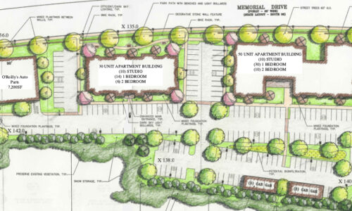Closeup of Memorial Drive Concept Site Plan